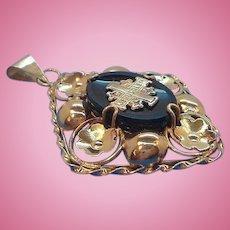 Vintage 14 Karat Gold and Black Glass Jerusalem Cross Pendant