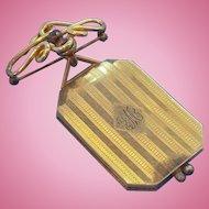 Victorian Era Rectangular Shaped Rolled Goldplate Monogrammed Initials Locket Brooch