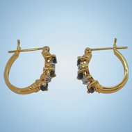 Vintage Goldplated Sterling Silver Pierced Hoop Earrings with Blue & Clear Stones