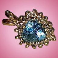 Vintage 14K Heart Shaped Genuine Diamonds & Blue Topaz Pendant
