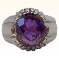 Vintage Sterling Silver Genuine Amethyst Stone Ring  Size 8