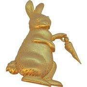 Vintage JJ Goldtone Metal Bunny Rabbit With Dangle Carrot Brooch