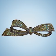 Vintage Carolee Green Rhinestone Bow Dark Guntone Metal Brooch