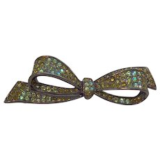 Vintage Carolee Green Rhinestone Bow Dark Guntone Metal Brooch