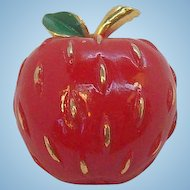 Vintage Napier Red Enameled Textured Apple Pin