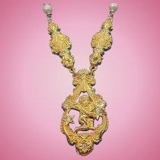 Vintage Edgar Berebi Goldtone Metal Cherub Imitation Pearl Necklace