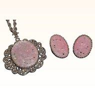 Vintage Silvertone Metal Pink Cabochon Stones Pendant Necklace & Earring Set