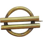 Victorian Era  Round Pin With Tube Shaped Bars Rolled Goldplate