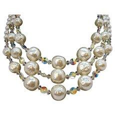 Vintage Textured Imitation Pearl & Aurora Crystal Beaded Triple Strand Necklace