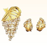 Vintage Rhinestone Abstract Grape Cluster Brooch and Clip on Earring Set