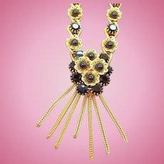 Vintage Goldtone Black Faceted Glass Dangle Necklace