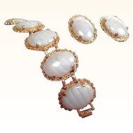 Vintage Judy Lee Goldtone Oval Art Glass Cabochons Bracelet Clip on Earrings Set