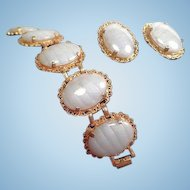 Vintage Judy Lee Goldtone Oval Art Glass Cabochons Bracelet Clip on Earrings Set