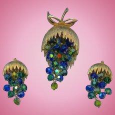 Vintage Blue Green Aurora Crystal Beaded Dangle Grape Cluster Set