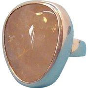 Vintage Large Chunky Sterling Silver Polished Genuine Quartz Cabochon Stone Ring Size 7