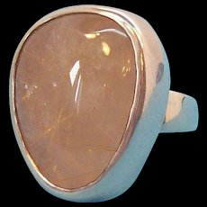 Vintage Large Chunky Sterling Silver Polished Genuine Quartz Cabochon Stone Ring Size 7
