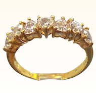 Vintage Goldtone Sterling Silver Ring with Heart Shaped Cubic Zirconium Stones Size 8