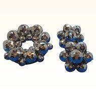 Vintage Laguna Metallic Silvery Glass Beaded Brooch & Earrings Set