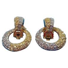 Vintage Nolan Miller Goldtone Dangle Hoops Canary Rhinestone Earrings