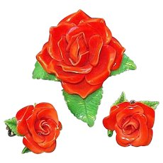 Vintage Dimensional Plastic Red Roses Flower Brooch and Clip on Earring Set