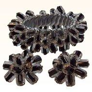 Black Crystal Dangle Beaded Expansion Cha Cha Bracelet Set