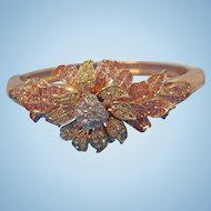 Vintage Dimensional Floral Rhinestone Bangle Bracelet Nolan Miller