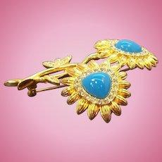 Vintage Goldtone Metal Blue Double Flower Brooch Nolan Miller