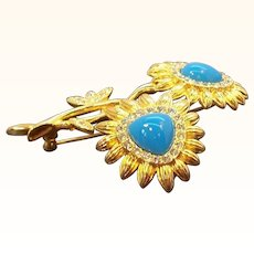 Vintage Goldtone Metal Blue Double Flower Brooch Nolan Miller