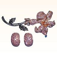 Vintage Dimensional Pink Rhinestone Flower Brooch Set Nolan Miller