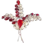Vintage Red Clear Rhinestone Floral Brooch Signed Continental
