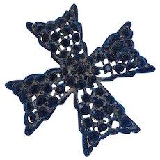 Vintage Weiss Black Japanned Metal Rhinestone Maltese Cross Brooch