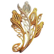 Vintage Dimensional Textured Goldtone and Silvertone Metal Floral Bouquet Brooch