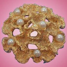 Vintage Napier Textured Goldtone Metal Brooch with Imitation Pearls