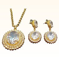 Vintage Crystal Rhinestone Goldtone Pendant Necklace Dangle Pierced Earring Set