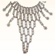 Vintage Textured Silvertone Metal Dangle Bib Statement Necklace