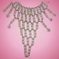 Vintage Textured Silvertone Metal Dangle Bib Statement Necklace with Flower Designs