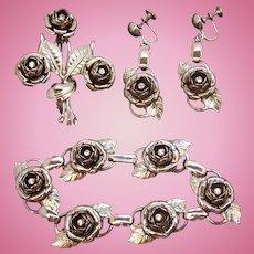 Vintage Silvertone Metal Rhinestone Roses Bracelet and Earring Set
