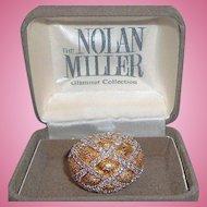 Vintage Nolan Miller Domed Goldtone Silvertone Metal Rhinestone Ring in Original Box Size 8