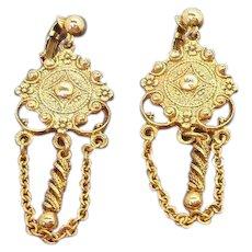 Vintage Textured Goldtone Metal Dangle Clip on Earrings