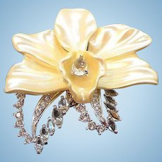 Vintage Nolan Miller Dimensional Creamy Orchid Flower Rhinestone Brooch