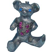 Vintage Original By Robert Ugly Teddy Bear Pin with Pink Rhinestones
