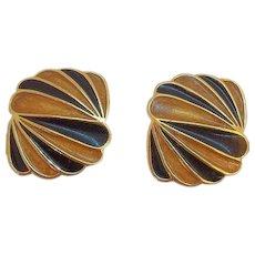 Vintage Trifari Orange Black Enameled Goldtone Metal Clip on Earrings