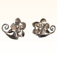 Vintage Dainty Sterling Silver Dimensional Flower Adjustable Screw On Earrings