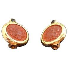 Vintage Goldtone Metal Rhinestones Cameo Profile Clip on Earrings