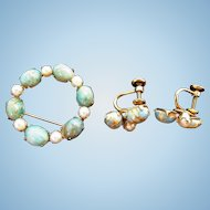 Dainty Vintage Gold Filled  Oval Stones  Cultured Pearls Brooch and Screw On Earrings Set