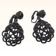 Vintage Black Glass Stones  Scalloped Black Enameled Metal  Dangle Clip on Earrings