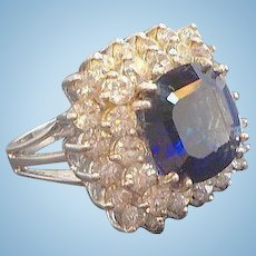Vintage Countess Madeleine Sterling Silver Ring with Blue CZs  in Original Box