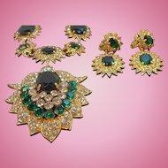 Vintage Large Regal Green Rhinestone Necklace & Dangle Earring Set
