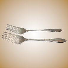 Oneida Sterling Silver Virginian Pattern Pair of Salad Forks Circa 1940s