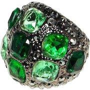Vintage KJL Large Domed Green Glass Stones Guntone Metal Ring Size 9